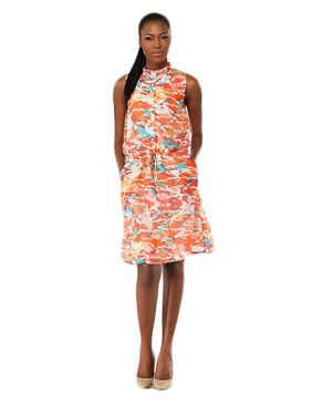 Alchiba Short Print Dress - Orange