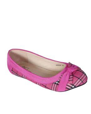 Top Choice Check Bow Flats - Pink