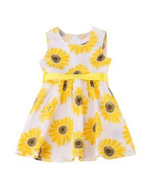 Sunshine Girls Sleeveless Sunflower Print Party Dress - Yellow/White