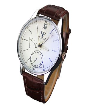 Yazole Mens Blue Ray Mirror Leather Strap Wristwatch - Brown