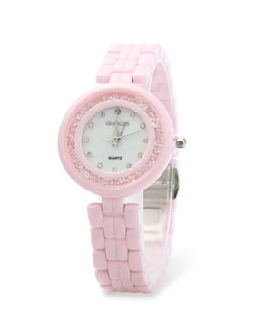 WeiQin Womens Quartz Ultra-thin Watch- Ceramic Pink