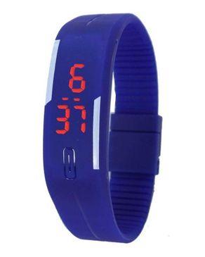 Universal Ultra Thin Silicone Digital LED Sports Bracelet Wrist Watch - Blue