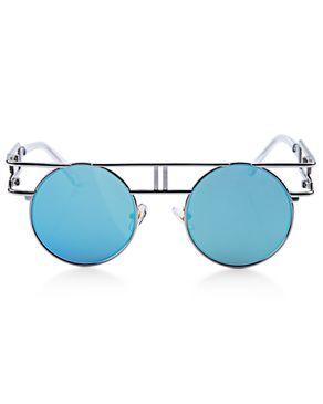 Generic Retro Round Frame Unisex Gothic Punk Color Coated Sunglasses - SILVER FRAME + BLUE LENS