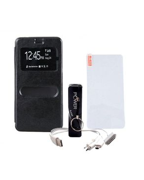 Universal Double Window Leather Case For Infinix Hot 3 Black + Hot 3 Tempered Glass + 3000mAh Powerbank