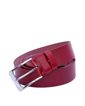 Timaro James Collection Unisex Leather Belt - Red