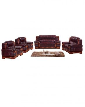 WING-HAN (Reduced Shipping Fee) 7 Sitter Complete Elegant Animal Skin Leather Sofa - B2608