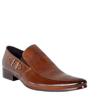 Patterned Slip-On With And Fancy Buckle - Coffee
