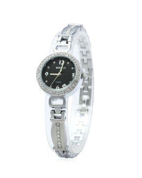 WeiQin Ladies Quartz Watch Print Display Silver+Black