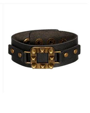 Fashion Unisex Leather Wrist Band Bracelet - Black