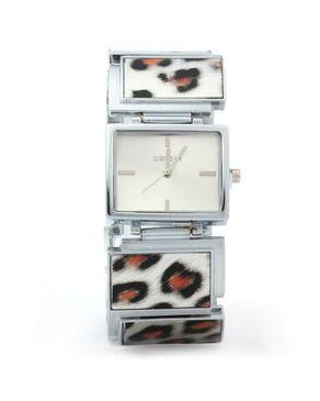 WeiQin Womens Quartz Watch Rectangle Dial Leopard -Silver