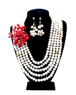 Team Pearl Beaded Jewelry - White&Red