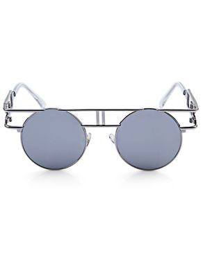 Generic Retro Round Frame Unisex Gothic Punk Color Coated Sunglasses - SILVER FRAME + SILVER LENS