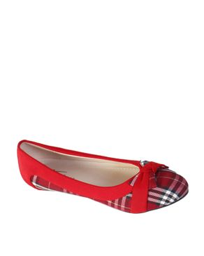 Top Choice Check Bow Flats - Red