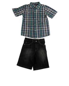 2pc Plaid Buttoned Shirt with Jeans Shorts - Multicoloured