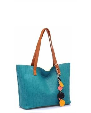 VISION FILL Textured Hand Bag - Blue