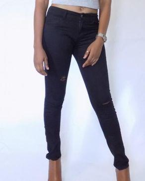 Fashion Black Ripped skinny Jeans