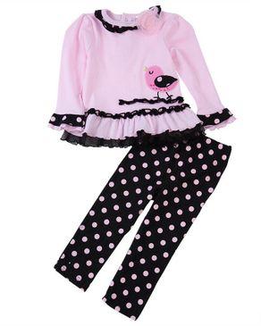 Fashion Chick Print Baby Girls Twinset - Pink