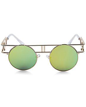 Generic Retro Round Frame Unisex Gothic Punk Color Coated Sunglasses - GOLD FRAME + GOLD LENS