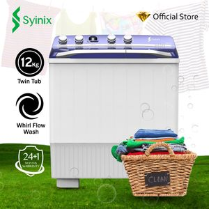 Syinix 12kg Semi-Automatic Twin Tub Washing Machine SY-SWMTT12