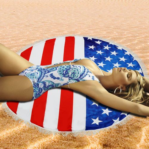 Dtrestocy Sun Round Beach Towel Tassel Fringing Beach Throw Round Wall Tapestries