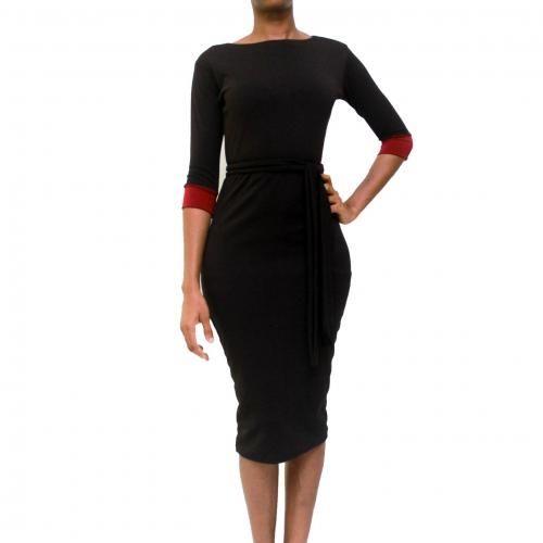 Reese 3/4 Sleeves Midi Dress - Black