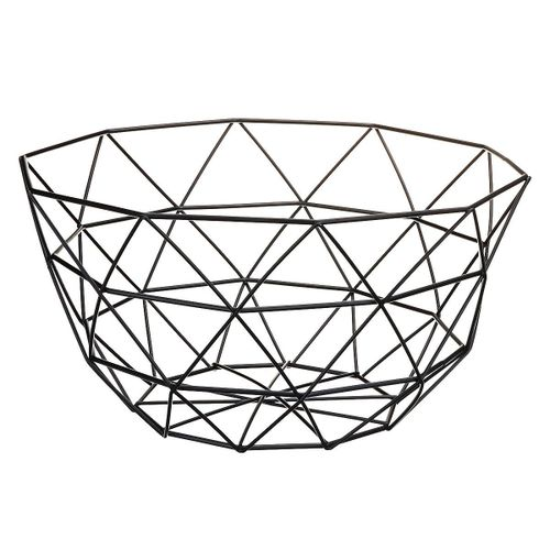 Kitchen Iron Fruit Basket Fruit Plate Snack Storage Baskets - Black