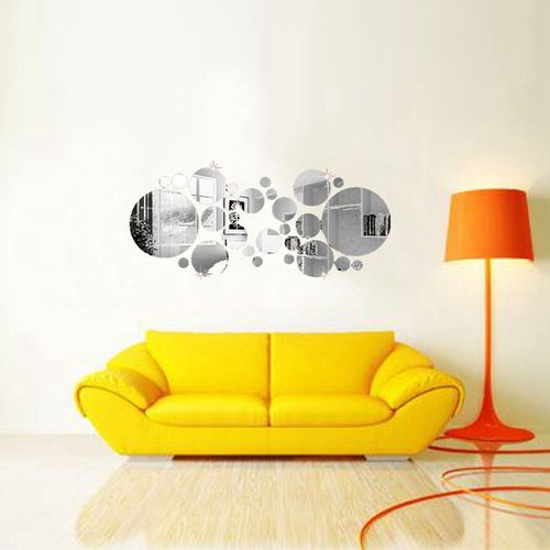 3D Circle Mirror Wall Stickers Acrylic Vinyl Decal Home