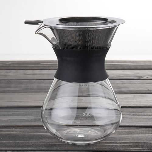 7/12 Ounces Pour Over Coffee Manual Drip Coffee Maker +Steel Filter 200/400ML