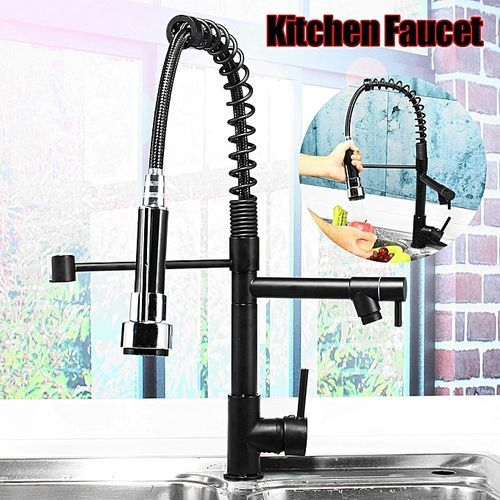 Oil Rubbed Bronze Kitchen Pull Down Faucet Sprayer Sink Single Handle Mixer Tap