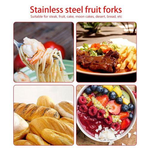 7Pcs/set Stainless Steel Fruit Forks Beautiful Cake Dessert Steak Serving Fork Dinner Set