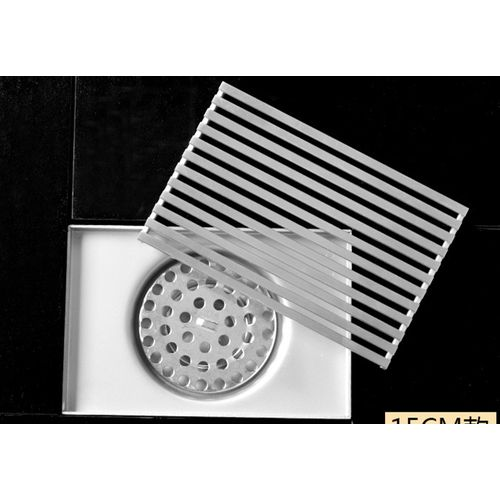 Large Flow 15cm Stainless Steel Grille Rectangle Shower Floor Drain Bathroom Drainage Gully