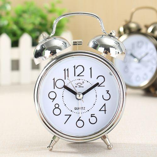 Classic Silent Copper Metal Double Bell Alarm Clock Quartz Movement Bedside New