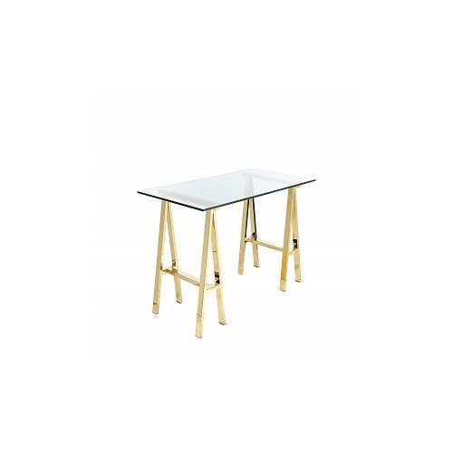 Glass Writing Desk With Metal (Gold)(Delivered Within Lagos)