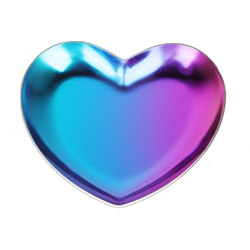 Heart-shaped Plate Stainless Steel Fruit Tray Fruit Tray Cosmetic Jewelry Organizer Silver / Gold / Purple-pink
