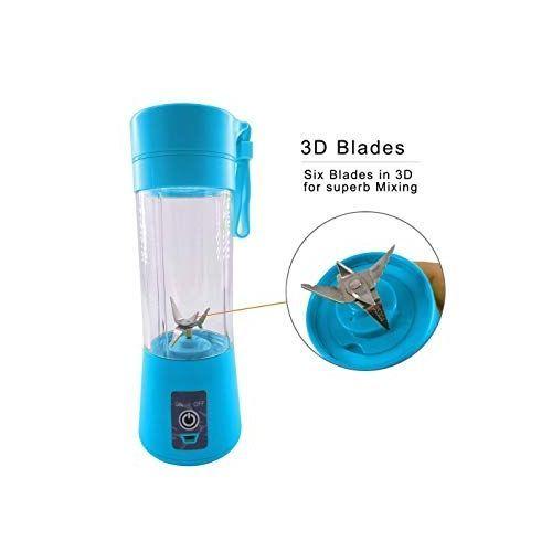 (6 Blades) Upgraded Rechargeable Fruit Blender (Blue)