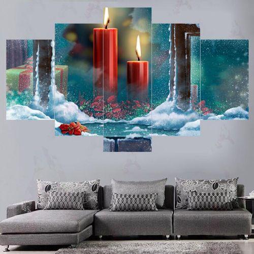 5PCS Canvas Print Wall Hanging Art Printing Christmas Xmas Festival Home Decor