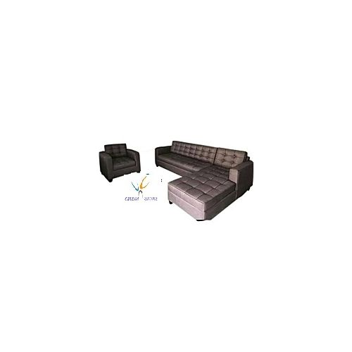 OMEGA FURNITURE NEW L-SHAPE BROWN 6-Seater Sofa Set + Free Ottoman (Delivery To Lagos Only)