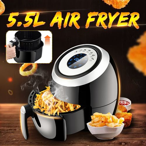 5.5L Electric Air Fryer Non-stick Pan 1500W Oil Free Oven Cooker Timer Kitchen
