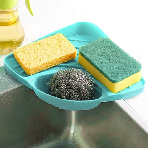 Duanxinyv- Sponges Kitchen Sink Corner Shelf Wall Cuisine Dish Rack Drain