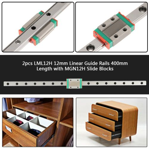Linear Guide Rail 2pcs LML12H Linear Guide Rails 400mm Length With MGN12H Slide Blocks