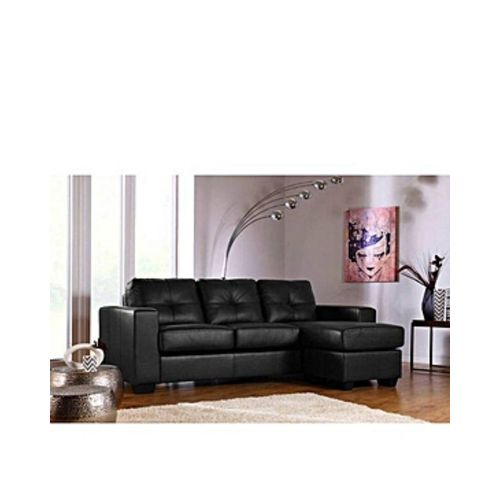 5 Seater L Shape Black Leather+free Ottoman(lagos Only