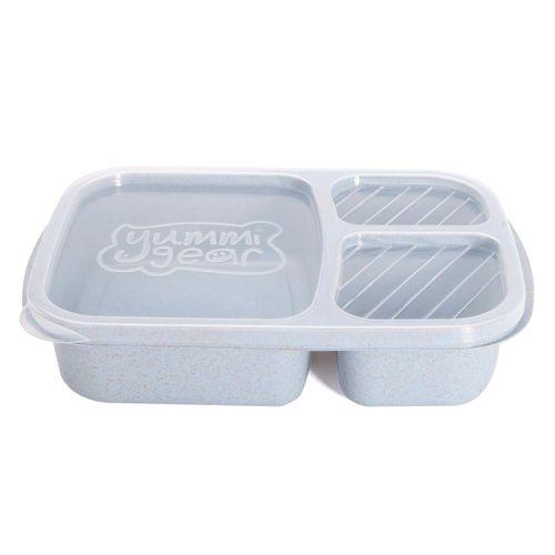 3 Compartment Microwave Bento Lunch Box Picnic Food Containers Fruit Storage Box #blue