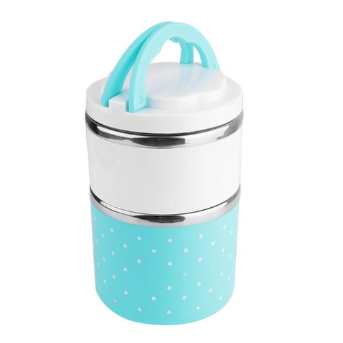 Stainless Steel 2-Layer Lunch Box Single Colour 2 Tiers Bekas Makanan Thermal Bento Lunch Box Stackable Leakproof Lunch Container
