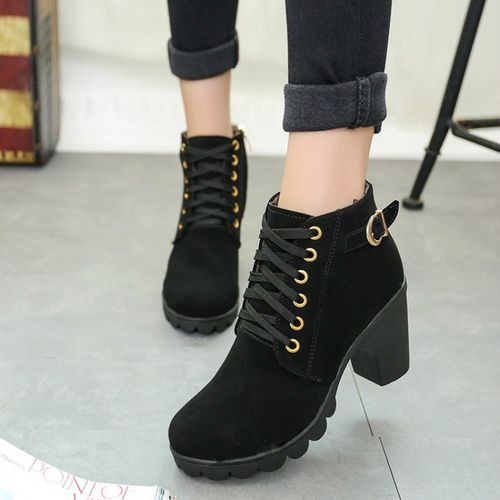 Womens Ladies Winter High Heel Ankle Martin Boots Zipper Buckle Platform Shoes