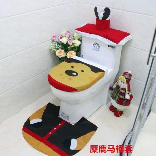 1Lot Fancy Household Christmas Santa Toilet Seat Cover And Rug Bathroom Set