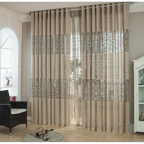 2 Pcs Curtain Floral Tulle Door Window Curtains Scarf Drapes Valance