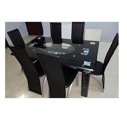 Glass Dinning With 6 Chairs