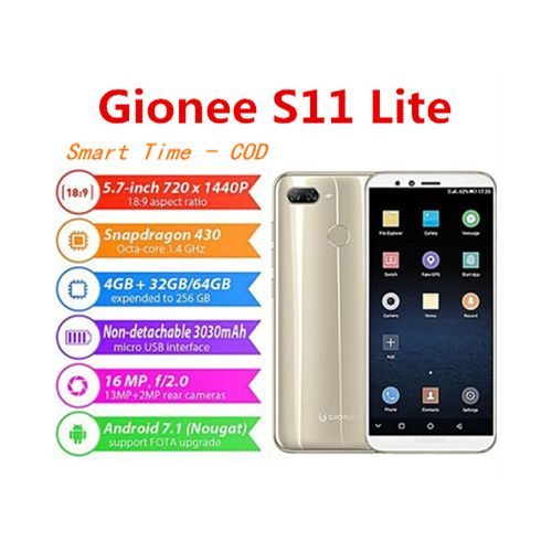 S11 Lite 5.7-Inch HD 18:9 Full Screen (4GB,32GB) Android 7.1 , Hybrid Dual SIM 4G LTE Fingerprint ID Smartphone- Gold