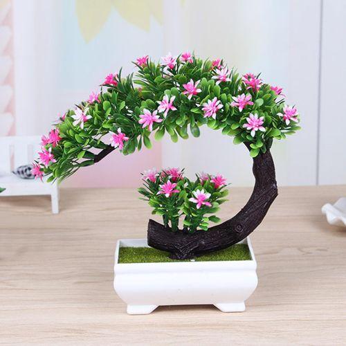 Bonsai Tree Square Pot Artificial Planter Plant Flower Office Home Garden Decor Pink