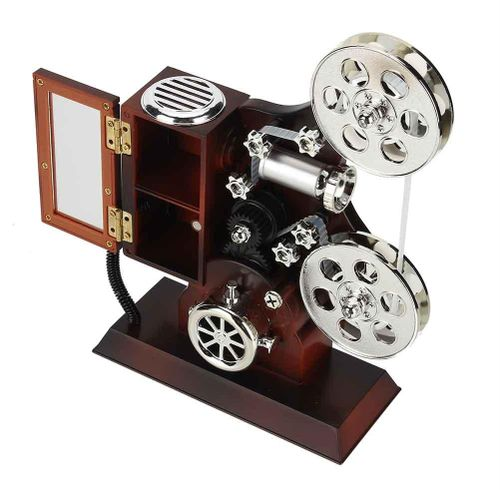 Antique Music Box Vintage Film Projector Jewelry Music Boxes Jewelry Storage Case With Make-Up Mirror Desktop Ornament